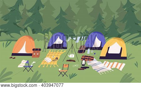 Touristic Summer Campground With Tents, Picnic Blankets, Sleeping Bags And Backpacks. Camping Area I