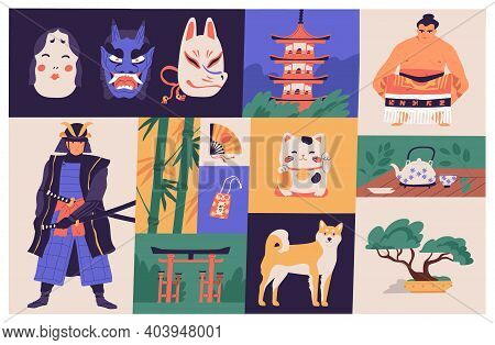 Collage Of Japanese National Culture, Art, Sport And Traditions. Traditional Japan Buildings, Bonsai