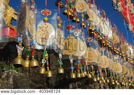 Maehongson, Thailand - December 13, 2020: Beautiful Bells And Tags In Santichon Village A Small Chin