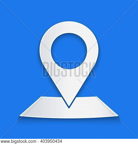 Paper Cut Map Pin Icon Isolated On Blue Background. Navigation, Pointer, Location, Map, Gps, Directi