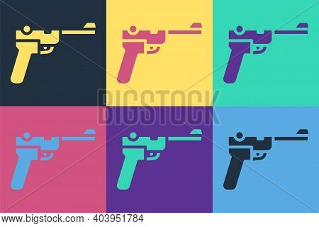 Pop Art Mauser Gun Icon Isolated On Color Background. Mauser C96 Is A Semi-automatic Pistol. Vector