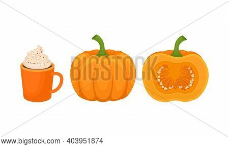 Whole Pumpkin And Dessert With Whipped Cream Vector Set