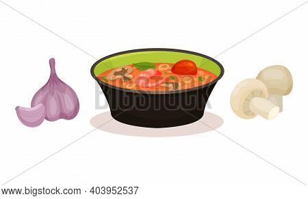 Tom Yum Or Tom Yam As Hot And Sour Thai Soup And Ingredients Vector Set