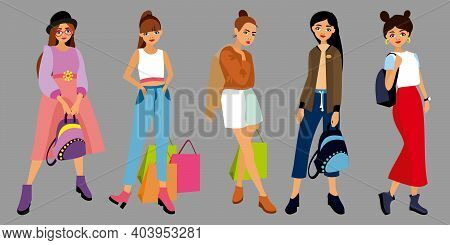 Set Of Character Fashion Style Young Girls, Women Different Clothes, Lifestyle, With Bag, Shoping Pa