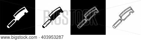 Set Meat Chopper Icon Isolated On Black And White Background. Butcher Knife. Kitchen Knife For Meat.