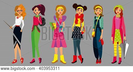 Set Of Character Fashion Style Young Girls, Women Different Profession, Clothes, Lifestyle, With Bag
