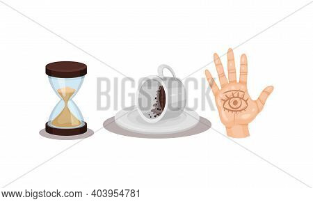 Fortune Telling Objects With Hand Palm And Coffee Grounds Vector Set