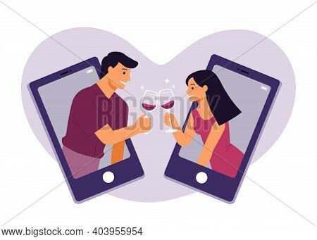 Beautiful Adult Couples Clinking Online With Glasses Of Red Wine Making A Quarantine Happy Hour. Loc