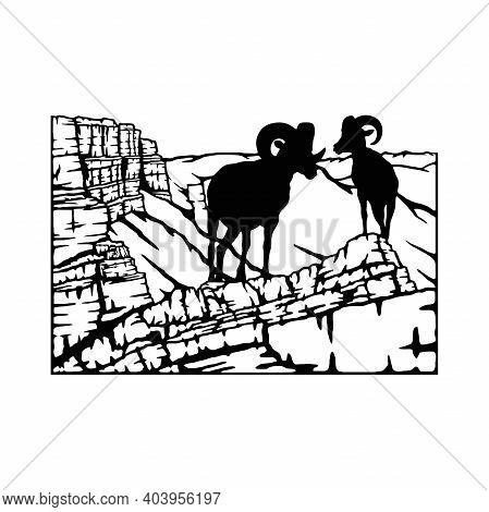 Mountain Goat, Ram - Mountain Landscape, Wildlife Stencils - Mountain Silhouettes, Wildlife Clipart,