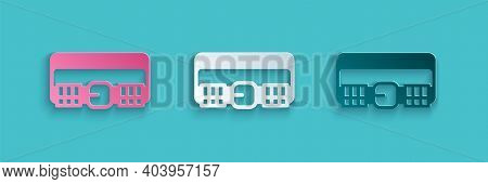 Paper Cut Hunting Cartridge Belt With Cartridges Icon Isolated On Blue Background. Bandolier Sign. H