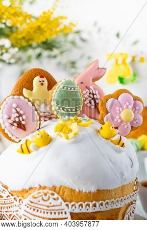Easter Cake, Sweet Bread Decorated With Sugar Icing, With A Bunny  And Meringues. Easter Symbols.