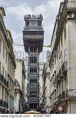 Santa Justa Elevator In Lisbon, Portugal. Connecting Downtown To Bairro Alto. Made By The French Arc