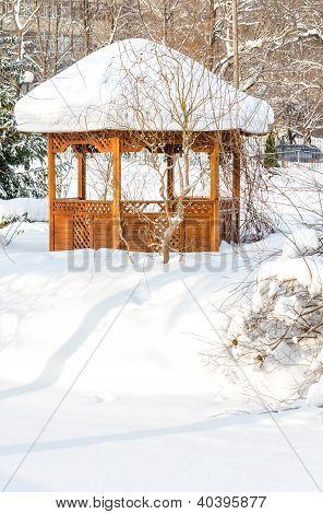 Summerhouse In Park In Winter