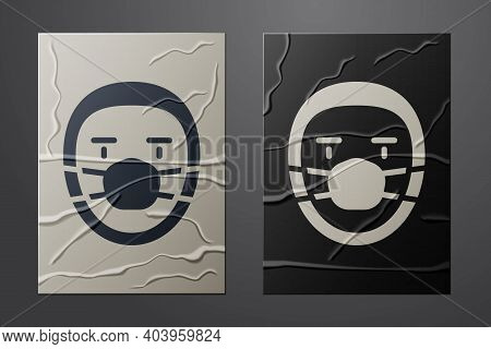 White Doctor Pathologist Icon Isolated On Crumpled Paper Background. Paper Art Style. Vector