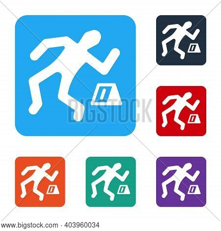 White Crime Scene Icon Isolated On White Background. Set Icons In Color Square Buttons. Vector