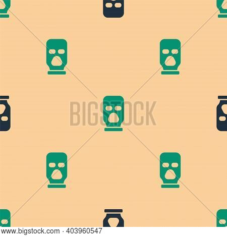 Green And Black Balaclava Icon Isolated Seamless Pattern On Beige Background. A Piece Of Clothing Fo