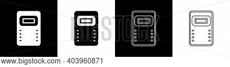 Set Police Assault Shield Icon Isolated On Black And White Background. Vector