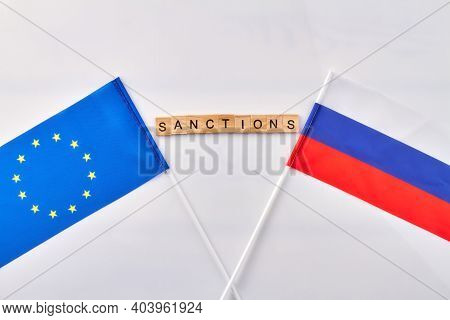 Sanctions Between Eu And Russia. Vertical Shot White Background.