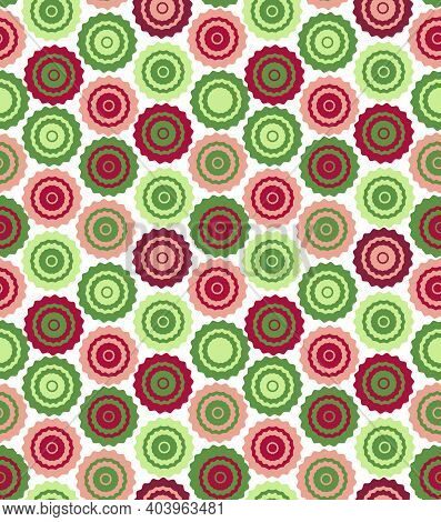 Seamless Background Of Multicolored Circles. Red< Green Color.