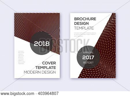 Modern Cover Design Template Set. Gold Abstract Lines On Bordo Background. Extra Cover Design. Extra