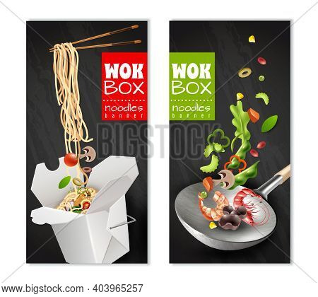 Realistic Chinese Noodles In Carton Box, Wok With Flying Ingredients Banners On Black Background Iso