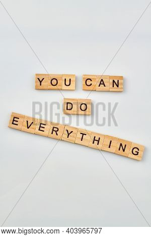 Quote For Belief In Yourself. Self-confidence Concept Made From Wooden Letter Blocks On White Backgr