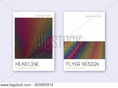 Minimal Cover Design Template Set. Rainbow Abstract Lines On Wine Red Background. Divine Cover Desig