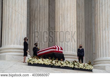 Washington, Dc, Usa 9-24-20 Ruth Bader Ginsburgs Casket Rests On The Steps Of The Supreme Court Buil