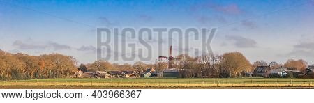 Panorama Of The Windmill In The Small Village Of Norg, Netherlands