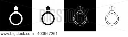 Set Fantasy Magic Stone Ring With Gem Icon Isolated On Black And White Background. Vector