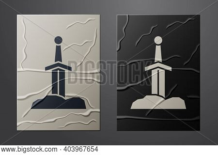 White Sword In The Stone Icon Isolated On Crumpled Paper Background. Excalibur The Sword In The Ston