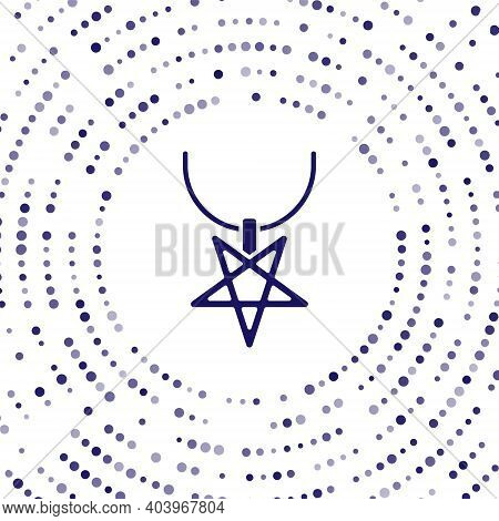 Blue Pentagram On Necklace Icon Isolated On White Background. Magic Occult Star Symbol. Abstract Cir