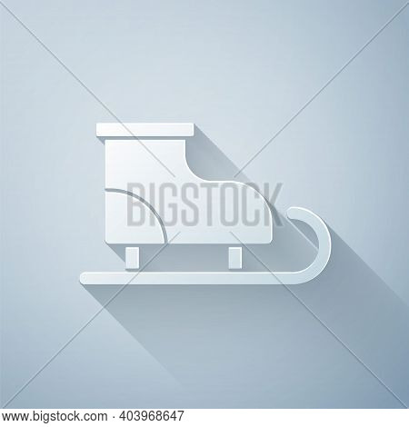 Paper Cut Figure Skates Icon Isolated On Grey Background. Ice Skate Shoes Icon. Sport Boots With Bla