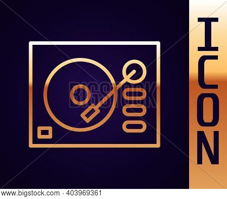 Gold Line Vinyl Player With A Vinyl Disk Icon Isolated On Black Background. Vector Illustration