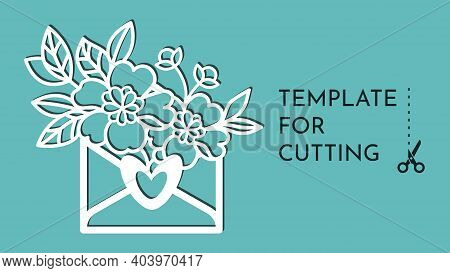 Note And Flowers.templates For Decoration. Elements For Cutting Paper, Plotter Or Laser Cutting.