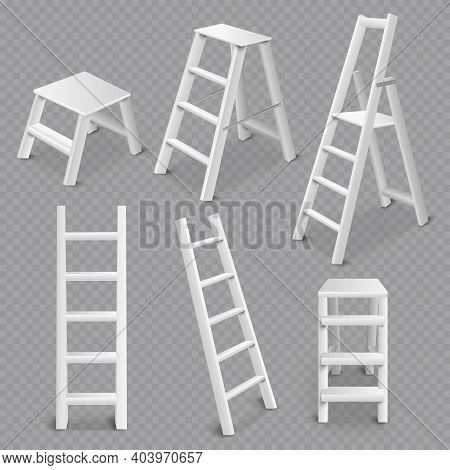 Multi Purpose Ladders Realistic 3d Collection Including Folding Standing Leaning And Step Stool Tran