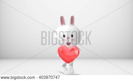 3d Rendering A White Rabbit Standing With A Red-pink Crystal Heart Isolated On White Background With