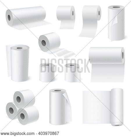 White Scroll Toilet Paper And Hygiene Towel Realistic Set For Bathroom And Water Closet Isolated Vec