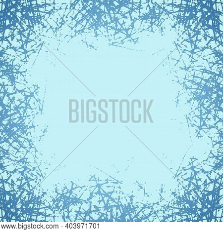 Blue Frosted Texture In Winter Window. Frost Pattern Background. Jpeg Ice Crystals Illustration