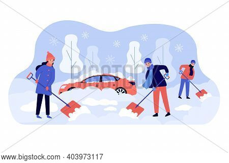 Positive People Cleaning Backyard Area After Snowy Storm Flat Vector Illustration. Cartoon Men And W