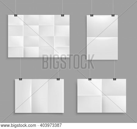 Folded Paper Mockup Realistic Set With Images Of Unfolded Map Paper Of Different Size On Grey Wall V