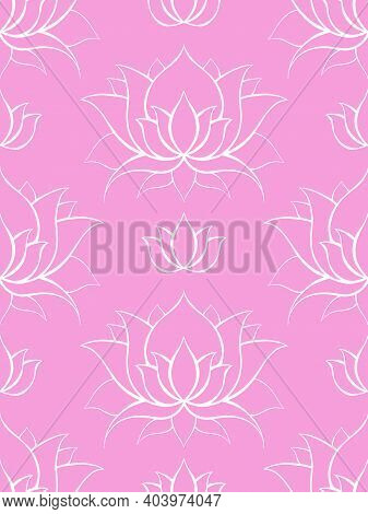 Delicate Background With White Contours Of Lotuses. Water Lilies On Pink. Delicate Natural Wallpaper