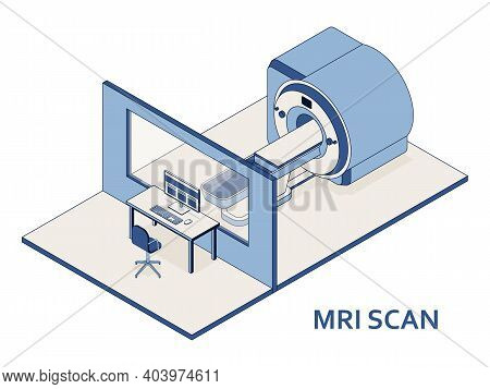 Mri Or Magnetic Resonance Imaging Scan Device. Medical Equipment And Health Care. Interior Of Radiog