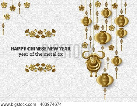 Happy Chinese New Year Background With Creative Golden Metal Ox, Sakura Branches, Hanging Lanterns