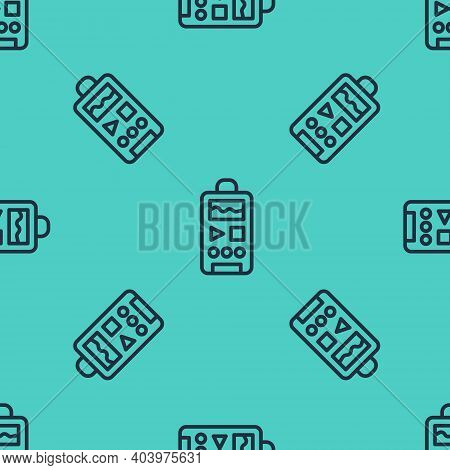 Black Line Dictaphone Icon Isolated Seamless Pattern On Green Background. Voice Recorder. Vector