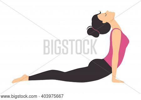 Girl Doing Yoga Exercise, Slim Sporty Young Woman Practicing Upward Facing Dog Yoga Pose Flat Style