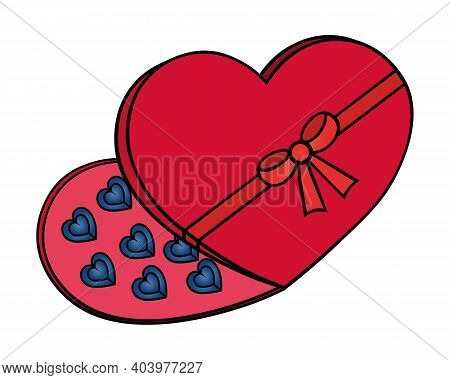 Chocolate In A Box. Chocolate Candies. The Heart-shaped Box Is Tied With A Bow. Colored Vector Illus