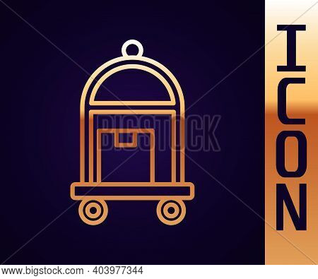 Gold Line Hotel Luggage Cart With Suitcase Icon Isolated On Black Background. Traveling Baggage Sign