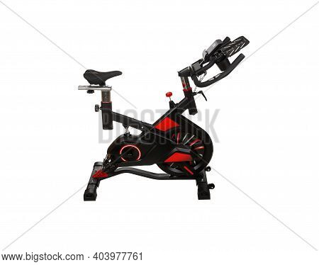Spinning Bike Isolated On White Background With Clipping Path . Healthy Lifestyle. Fitness, Sport, T