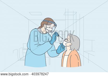 Healthcare And Medical Testing For Covid-19 Concept. Professional Medical Worker Woman Nurse Wearing